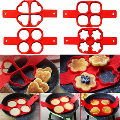 Flipping Fantastic Non Stick Pancake Maker Silicone Mould Egg Omelette Ring Fun