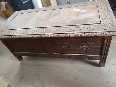 Antique Victorian Carved Oak Coffer Blanket Bedding Box Chest Table Collect Only