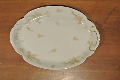 """Theodore Haviland Limoges Large Oval Double Handle Serving Platter 11-1/2"""" Long"""