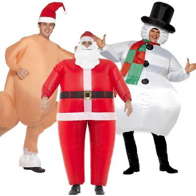 Adult Unisex Inflatable Christmas Fancy Dress Costumes Santa Turkey Snowman