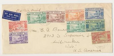 NEW HEBRIDES 1939, AIRMAIL COVER TO USA, STAMPS TO 2Fr (SEE BELOW)
