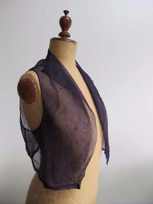Vintage 1930's Ladies Navy Blue Net Sleeveless Bolero Jacket Waist Coat