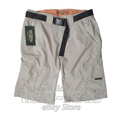New Mens FIELD & STREAM Hybrid Hiking Cargo Shorts Belted Cement S