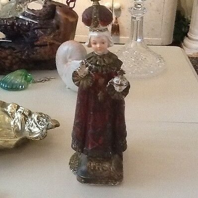 Antique Infant Of Prague Figure Planter Lovely With Ivy In It Very Old