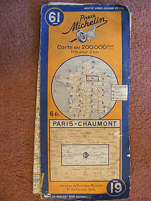Michelin Pilote map Number 61 of France (Paris - Chaumont) - ok Condition