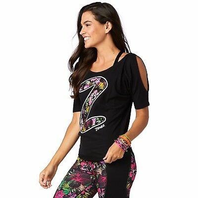 Zumba Party Cold Shoulder Top - Bold Black Z1T01351