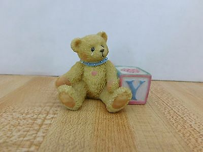 """Cherished Teddies Alphabet Bear with the Letter """"Y"""" Block - 1995"""