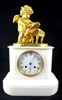 19th c French Gt ormolu bronze & White Carrera Marble Mantle Clock Milroy Freres