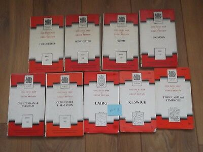 Job Lot / Bundle of 9 Seventh Edition Ordnance Survey Maps - Lot WF 3