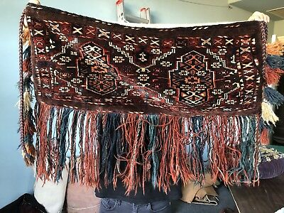 """Auth:  Antique Tribal Turkmen Chaudor Tribes Trapping 18"""" x 36""""  Collectible  NR"""