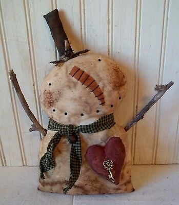 Primitive Grungy Shorty Snowman Christmas Doll with His Heart & Key