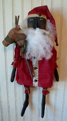 Primitive Grungy Santa Claus Christmas Doll & His Stick Reindeer Toy