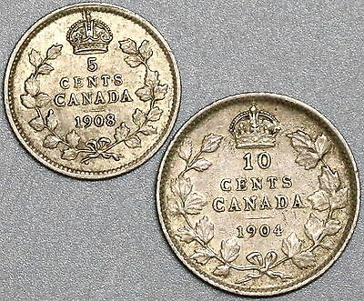1904 1908 CANADA Key Date Silver 10 cents & 5 Cents (17032803R)
