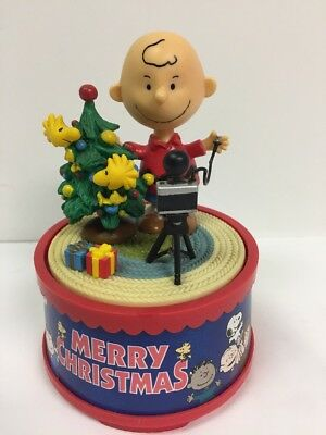 "Charlie Brown Peanuts rotating music box, ""Merry Christmas"", Kurt Adler, no box"