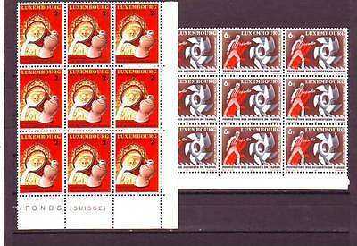 Luxembourg - Sg1049-1050 Mnh 1980 Prevention Of Accidents At Work - Blocks Of 9