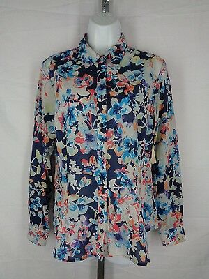 Coldwater Creek Blue Floral No Iron Shirt Size Small 8 Semi Sheer New
