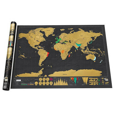 Creative Design Black Luxury Edition World Map Scratch Map Detailed Travel Map