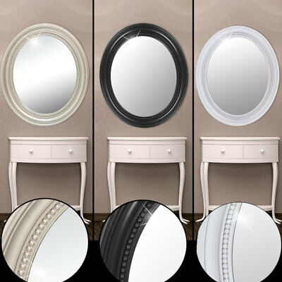 Wall Make Up Mirror Oval Bathroom Hallway Make-Up Ornaments Baroque White