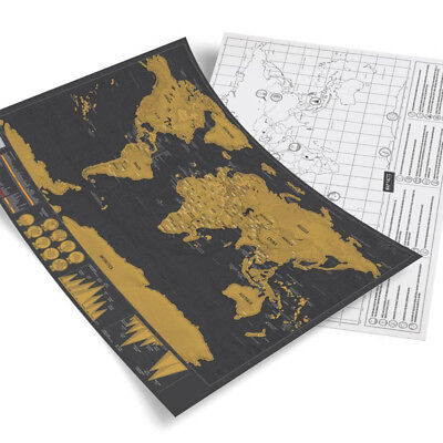 Creative Deluxe Travel Edition Scratch Off World Map Poster Map Kraft Paper