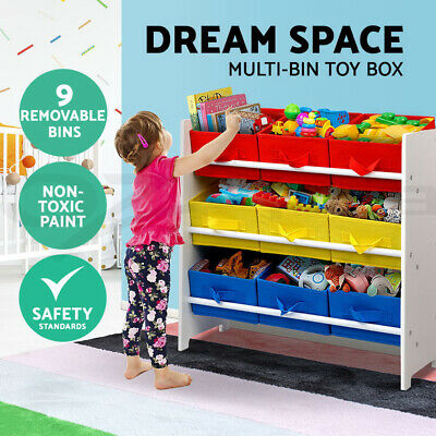 3-Tier 9 Bins Kids Toy Box Organiser Storage Rack Cabinet Wooden Bookcase Shelf