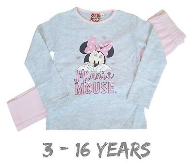 Girls Kids Teens Minnie Mouse Disney Pyjamas PJs Set Long Sleeves Snuggle Fit