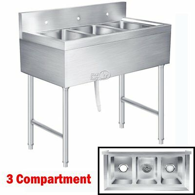 Stainless Steel Utility Sink for Commercial Kitchen - 3 Compartment Wash Basin