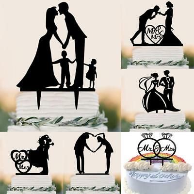 Romantic Wedding Engagement Mr Mrs Bride Groom Acrylic Silhouette Cake Topper