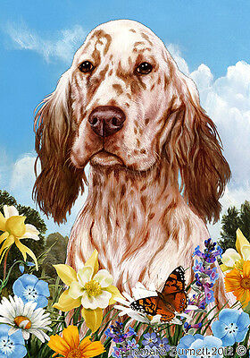 Large Pick 3 Flag Set - Orange Belton English Setter
