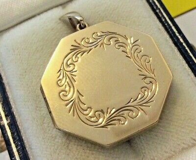 Beautiful Ladies Heavy High Quality Solid 9CT Vintage Octagon Locket Pendant 9CT