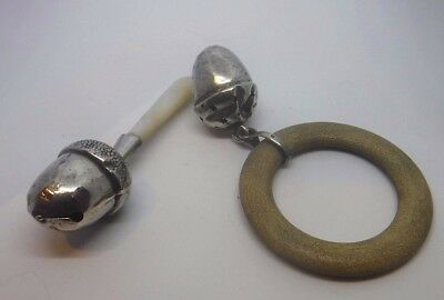 2 Antique Silver Babies Rattle Teethers Acorn Designs. One  Mother Of Pearl  A/F