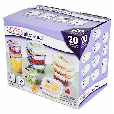 Sterilite Ultra-Seal Plastic Stacking Food Storage Container Full 20 Piece Set
