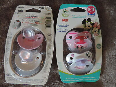 Nip 2 Unopened 4 Total Nuk Orthodentic Pacifiers 6-18 Month Disney Minnie