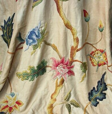 Huge Antique TREE OF LIFE Hand Embroidered Textile C.1850