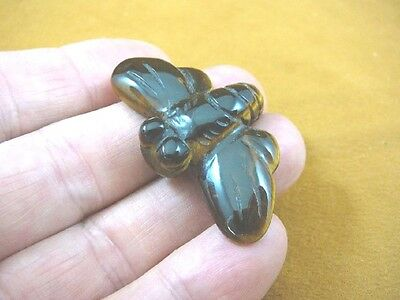 (Y-BEE-557) Brown HONEY BEE BUMBLE figurine gemstone stone carving I love bees