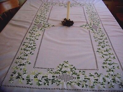 Gorgeous Large Vintage Tablecloth White Mimosa Flowers Hand Embroidery Christmas