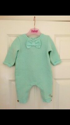 Ted Baker Baby Girls Babygrow All In One Outfit Age 6-9 Mint Green VGC