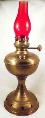 Antique Brass Kerosene Lamp Victorian Table As Is Condition Red Chimney
