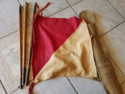 "WW2 US Army WWII Signal Corps Flag Kit With 25"" Canvas Bag VINTAGE SURPLUS RARE"