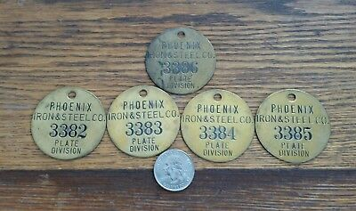 5 Vintage Pheonix Iron & Steel Plate Division Brass Tool Tags Consecutive #'s