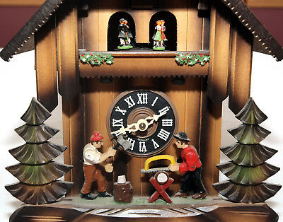 Vintage Black Forest Cuendet Swiss Movement Animated Cuckoo Clock Made n Germany