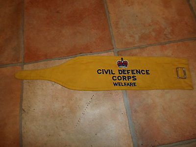 CIVIL DEFENCE CORPS WELFARE Yellow Embroidered Armband 1953-54 - War Weekend