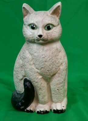 White Cat with Black Tail Cast Iron Doorstop Green Eyes