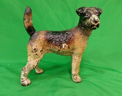 Wire Haired Terrier Cast Iron Doorstop Probably Hubley Design #279 Tan Black