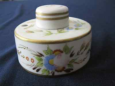 Antique French porcelain Ink Well Hand Painted Signed FV original insert