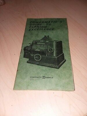 Powermatic Guide To Planing Excellence Vintage Aug 1980 Manual Cool Rare Guide
