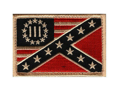 Three 3% Percenter Alabama State Flag hook Fastener Patch (AL1)