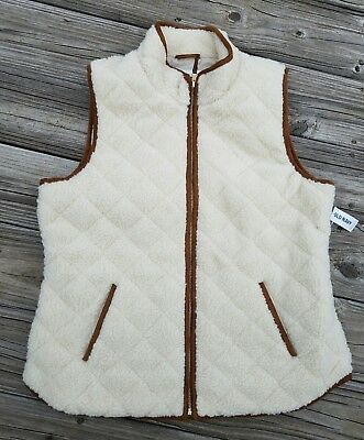 Old Navy Off White Sherpa Quilted Excursion Fur Vest Size XL NWT SOLD OUT