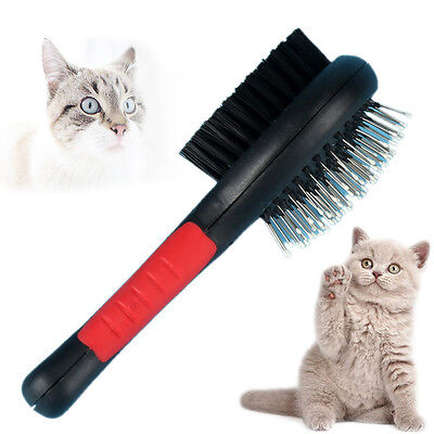 Double Sided Pet Grooming Brush Dog Cat Puppy Long&Short Hair Shedding Tool S/.