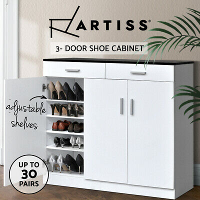 Artiss 30 Pairs Wooden 3-Door Shoe Cabinet Rack Storage Drawers Organiser Shelf