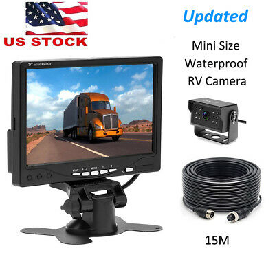 """RV Truck Bus Rear View Backup Camera Night Vision System 15M Cable + 7"""" Monitor"""